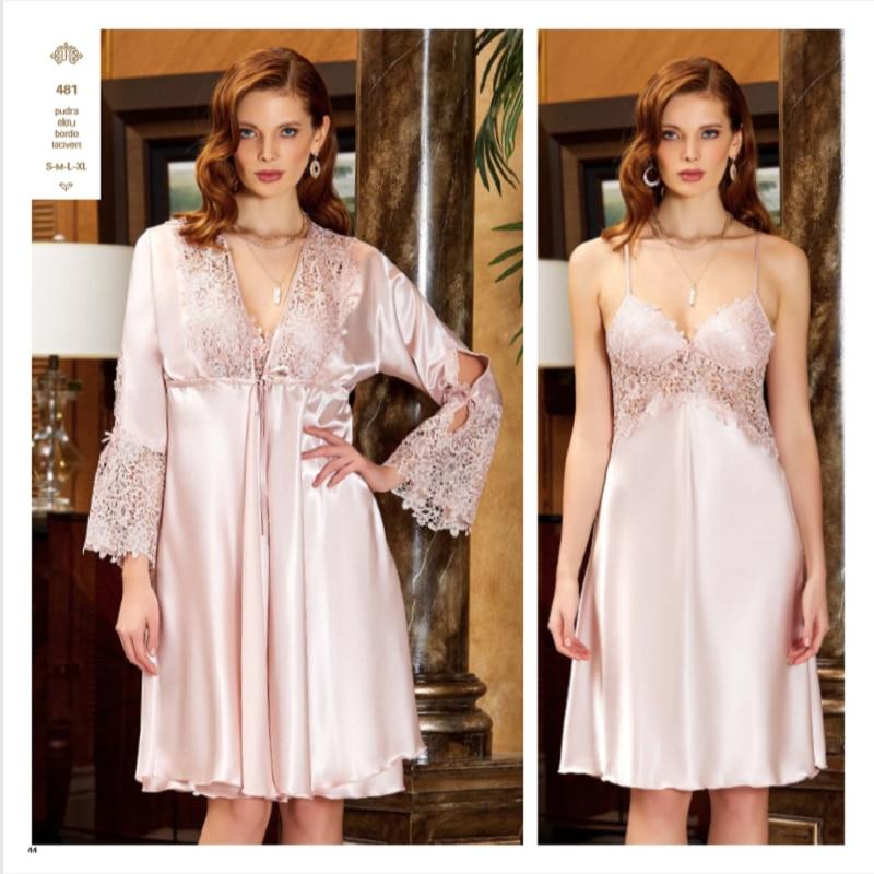 JEREMI 481 6 Pieces Satin Silky Touch Sets Women, Bride Trousseau Dowry Sexy Robe Sleepwear, Kit Nightwear Pyjamas, Gift Turkish