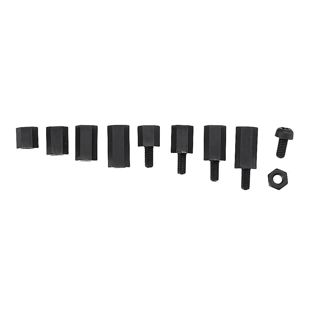 مجموعة متنوعة من براغي النايلون M3NH1 M3 ، صواميل سداسية سوداء ، نايلون PCB ، 300 قطعة