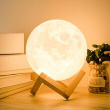 Night Light 3D Printing LED Levitating Moon Lamp Bedside Adjustable Color Changing Touch Light Home
