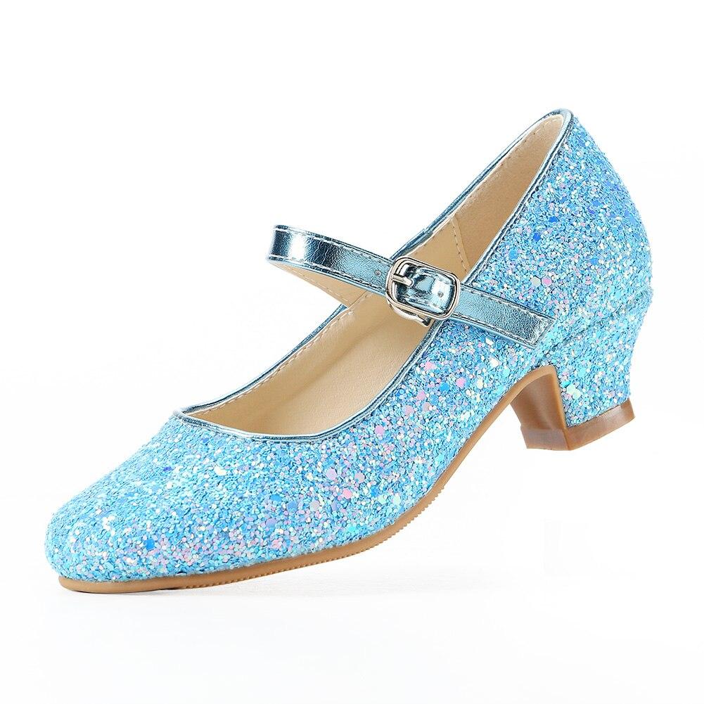 ثمانية KM الفتيات عالية الكعب فستان أحذية ماري جين الأميرة حفل زفاف حذاء بكعب EKM7015 مسحوق لامع متلألئ مجموعة كريستال