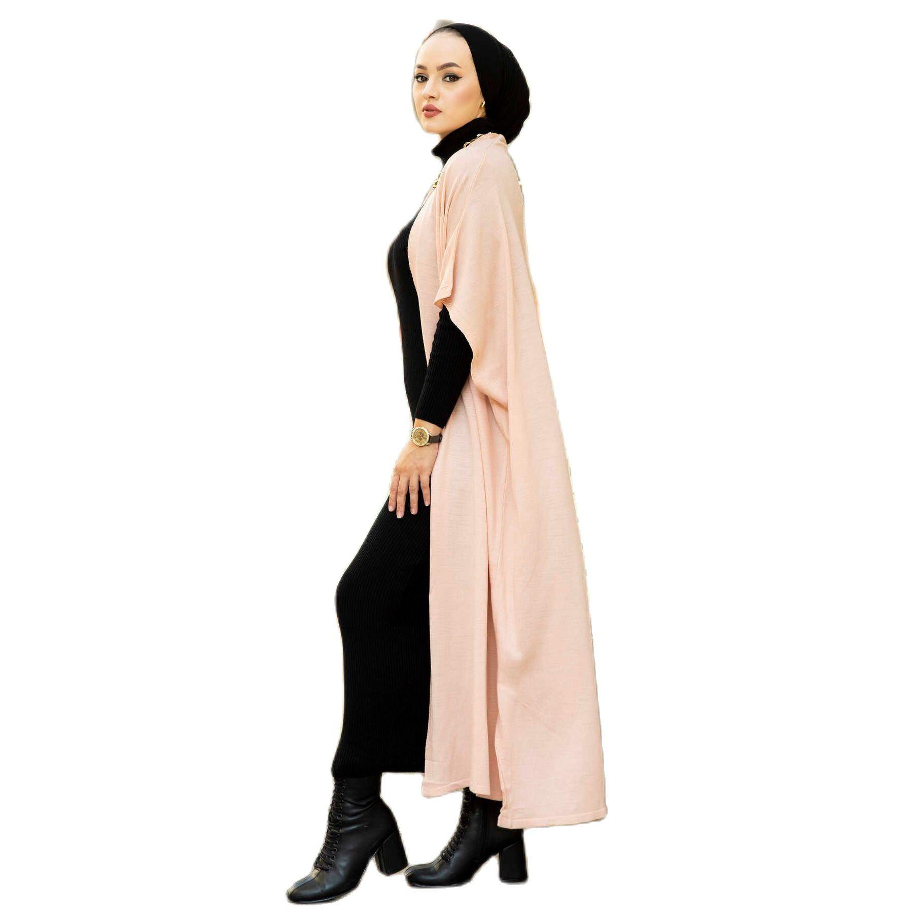 2 قطعة المرأة مجموعة الياقة المدورة فستان ماكسي و الخفافيش كم ماكسي كارديجان بدلة فاخرة ملابس مسلمة محبوك التركية جودة 2021