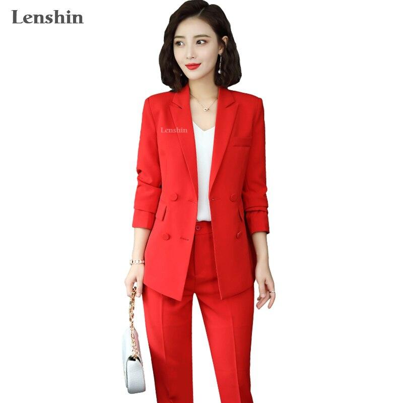 Conjunto de 2 piezas de gran calidad de Lenshin, traje de pantalón informal con doble botonadura, Blazer, diseños de moda para mujer, chaqueta y pantalón suave para mujer