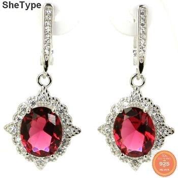 37x17 мм Роскошный Розовый Raspberry Rhodolite гранат женские 925 Твердые серьги из стерлингового серебра