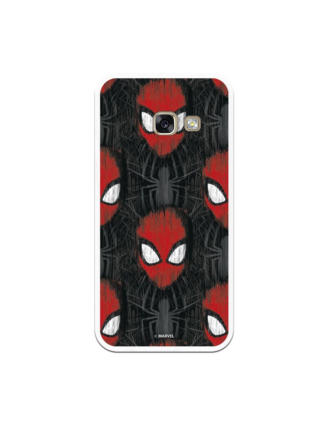Marvel Spiderman faces Официальный чехол для Samsung Galaxy A3 2017 черный фон-Marvel