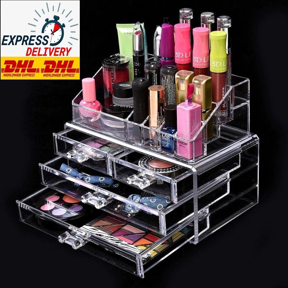 Caja de cajón organizador de maquillaje acrílico, caja de acabado para artículos diversos, caja de almacenamiento de cosméticos, soporte para lápiz labial, pantalla de perfume transparente