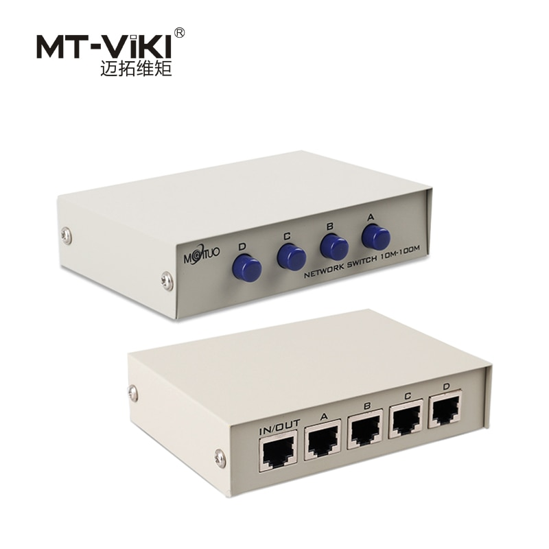 MT-VIKI conmutador de red de 4 puertos LAN CAT Selector Internet interno externo servidor de red Switcher RJ45-4