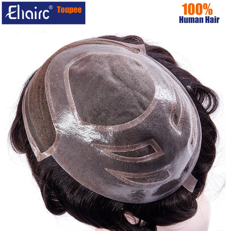 VERSALITE Toupee Men Lace & Pu Breathable Toupee Wigs For Men Male Hair Prosthesis 100% Natural Human Hair Men's fashion Wig