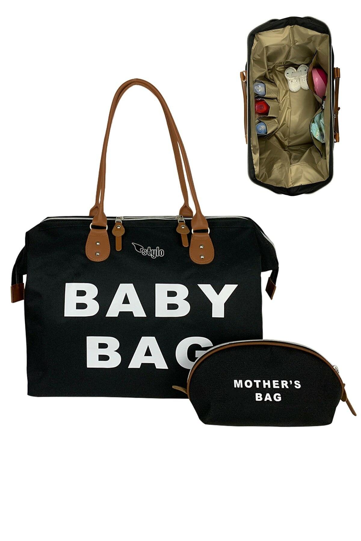 Stylo حقيبة أطفال حقيبة الأم رعاية الطفل للمرأة-أسود ، حامل ، سعة كبيرة ، جودة ، عملية ، موضة ، ماركة فاخرة