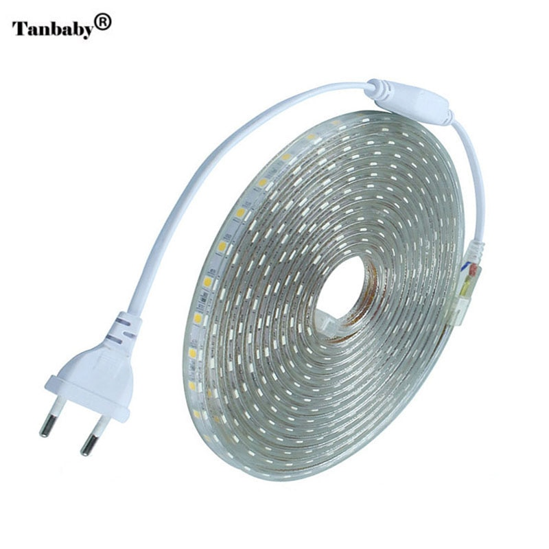Tira de LED impermeable IP67 SMD 5050 AC220V tira de iluminación led flexible enchufe de la UE, 60Led/m 1M 2M 3M 5M 10M 15M