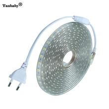 LED bande IP67 étanche SMD 5050 AC220V led bande flexible lumière ue prise dalimentation 60led s/m 1M 2M 3M 5M 10M 15M intérieur extérieur Led