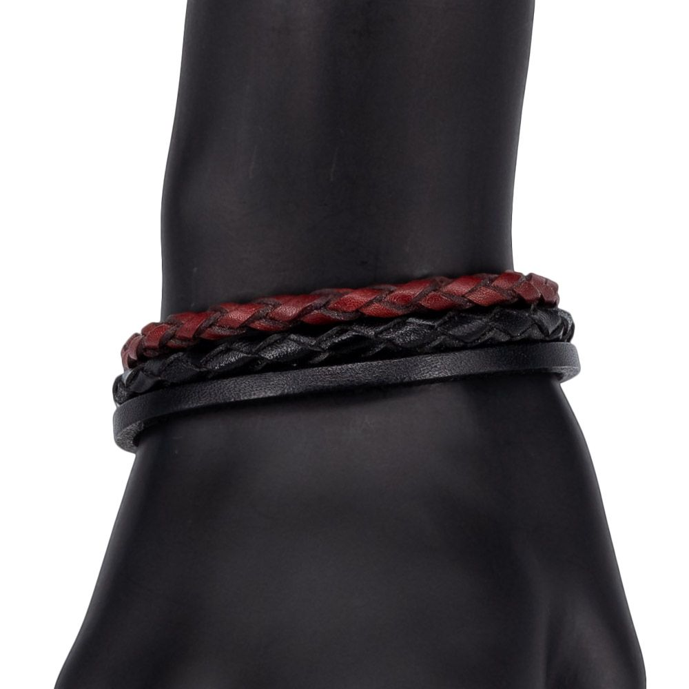 Bracelet en cuir (cuir véritable, serrure-connecteur, noir) 55969