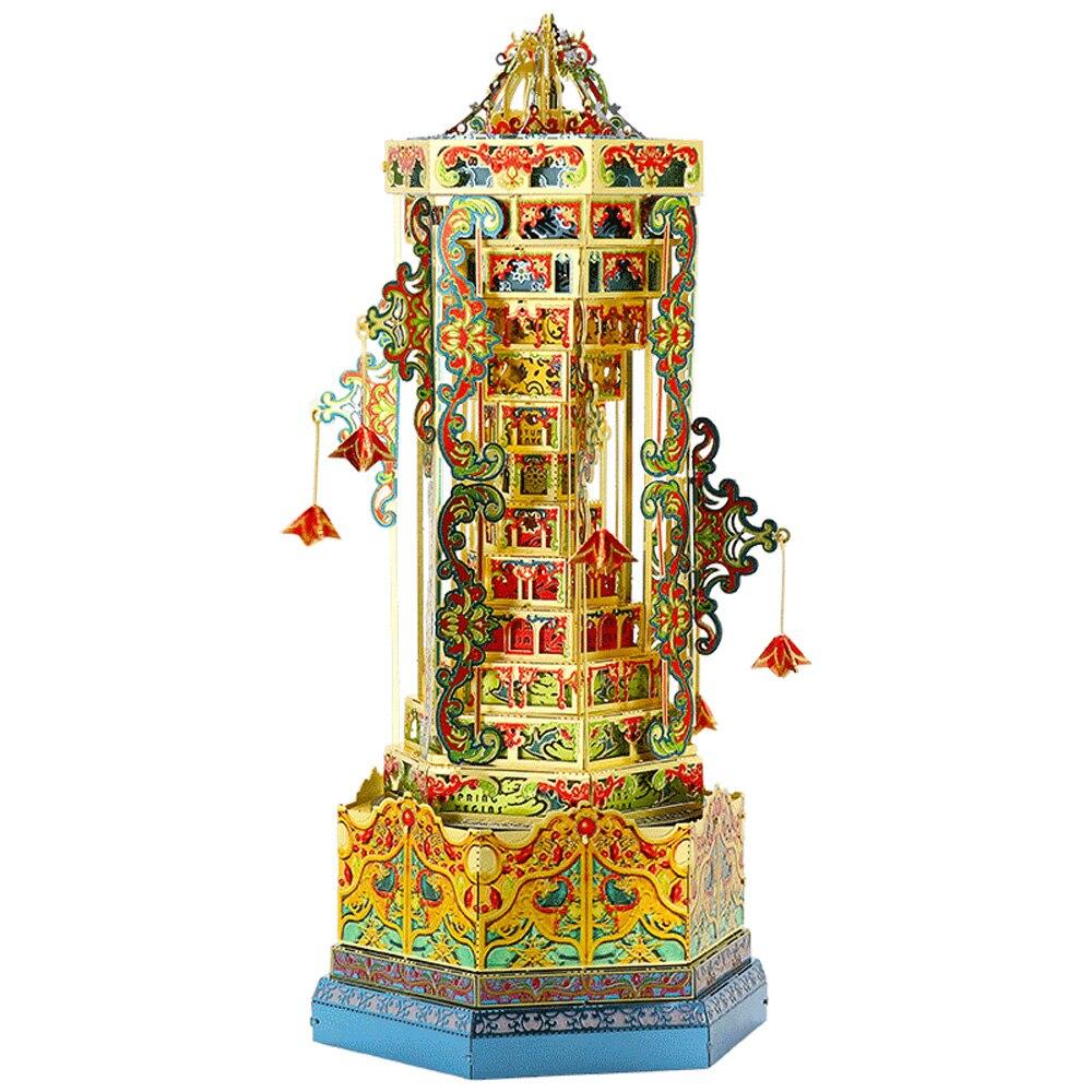 مو بابل برج الموسيقى مربع 3D المعادن أطقم DIY تجميع لغز الليزر قطع بانوراما بناء لعبة YM-L087 ل هدية