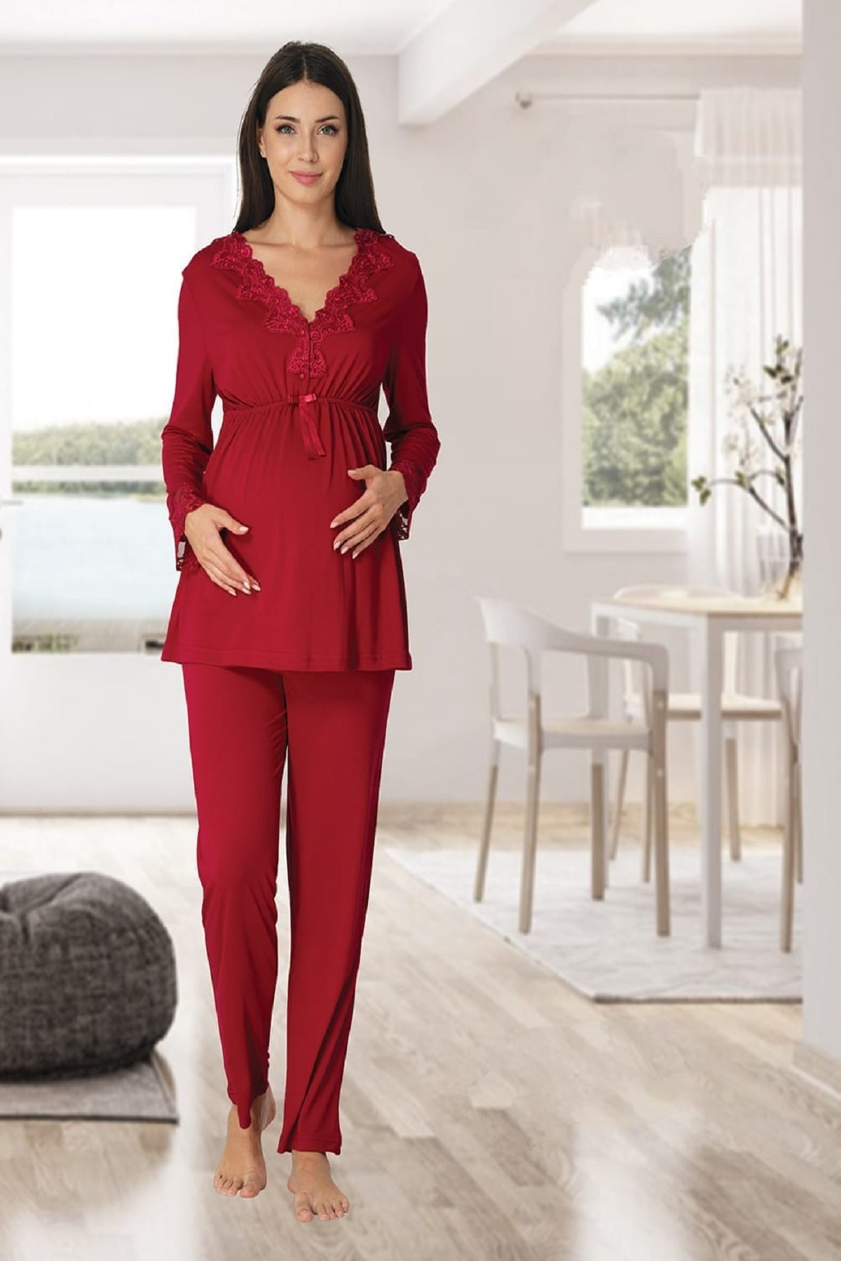Women's Cherry Long-Sleeve Pajamas Set Nightgown Dressing Gown Puerperal Maternity 4'lü Set enlarge