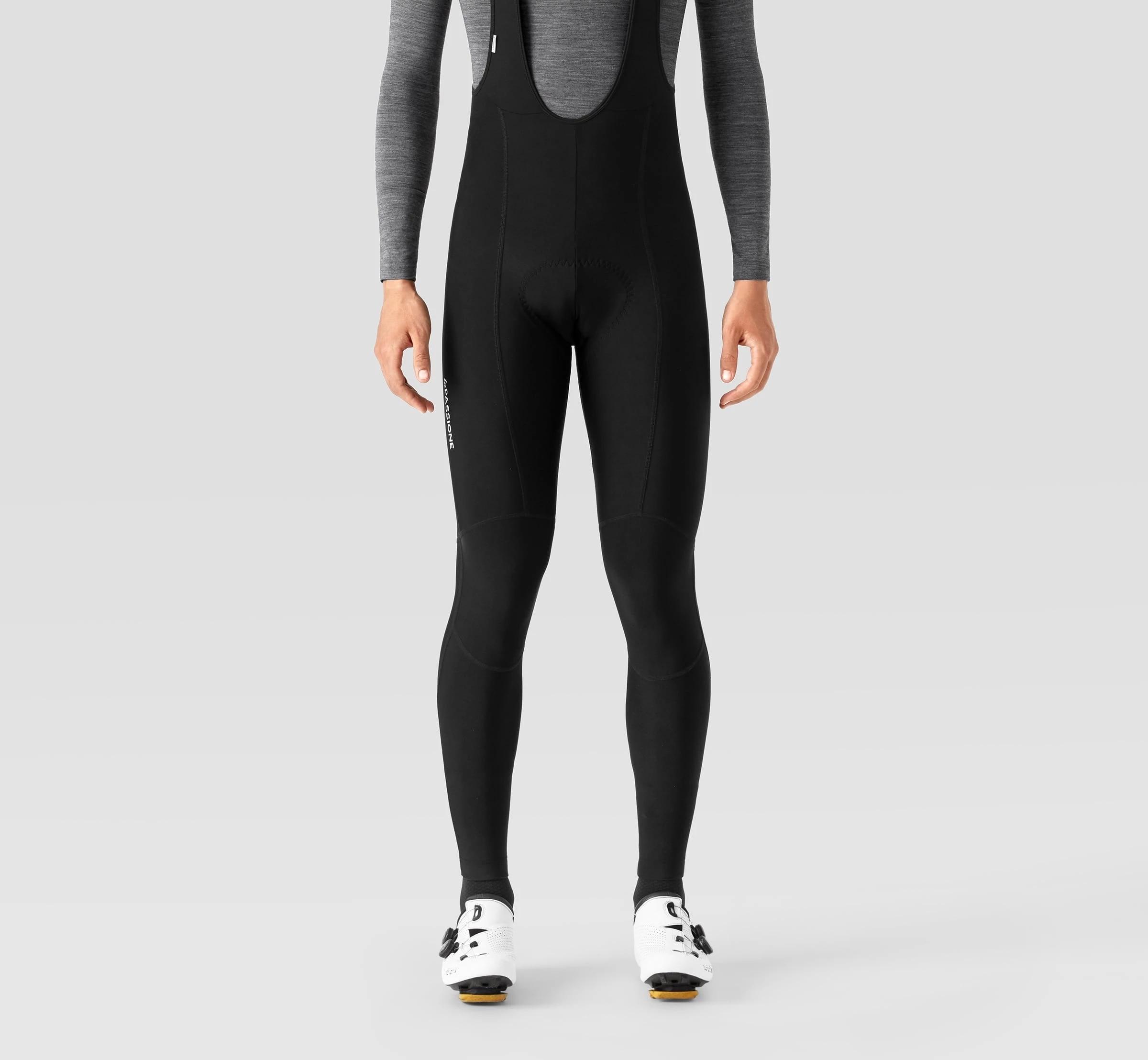 LA PASSIONE negro de invierno de los hombres de lana térmica pantalones con tirantes de ciclismo medias de ciclismo Pro equipo rojo esponja Pad MTB Bike pantalones largos