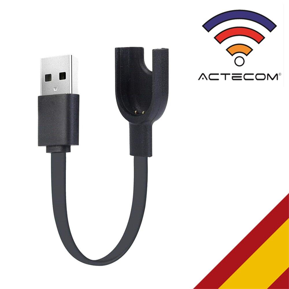 ACTECOM Cable USB Cargador Dock para Reloj inteligente Xiaomi Mi Band 3 Smartwatch Negro 2 Pines con Muelle Station Charging