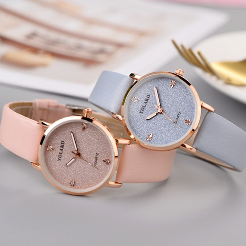 Top Brand High Quality Fashion Womens Ladies Simple Watches Geneva Faux Leather Analog Quartz Wrist