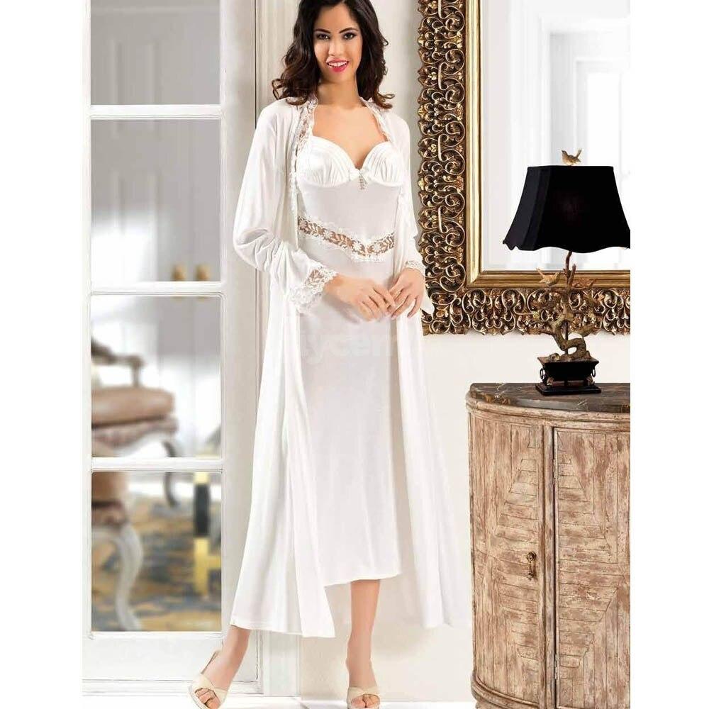 طقم ثوب نوم طويل من 6 قطع قطن أبيض نقي للسيدات في المنزل مريح أنيق جودة مثير مثير يلتف لك طوال الليل مع ناعم