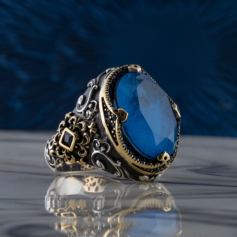 Guaranteed High-quality 925 Sterling Silver LAPIS STONE ring Jewelry Made in Turkey in a luxurious way for men with gift