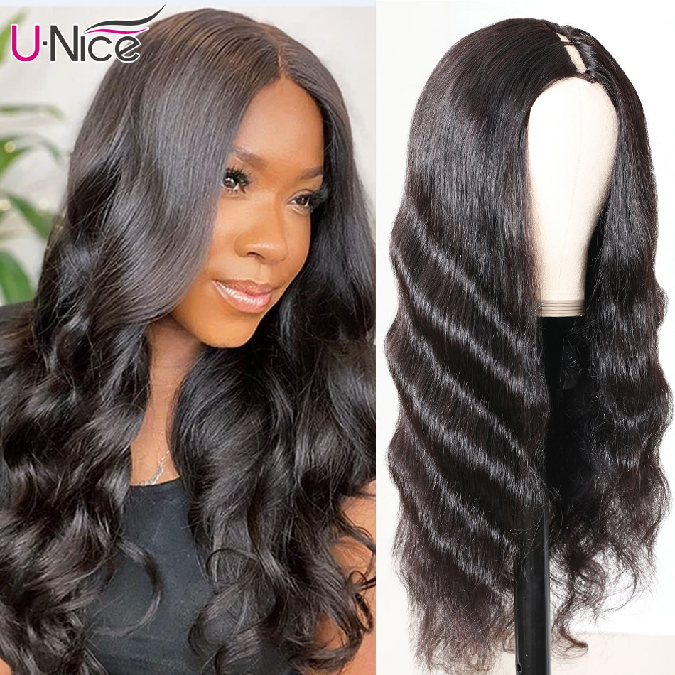 """UNice Hair U Part Wig Affordable Human Hair Wigs Best Peruvian Hair Body Wave Wigs 3""""x1"""" Machine Made Middle Part Wigs For Women"""
