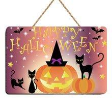 Plaque en bois de citrouille joyeux Halloween   Signe de citrouille, décoration Vintage pour la maison, décor de Bar Art, décor dautomne pour la fête dautomne