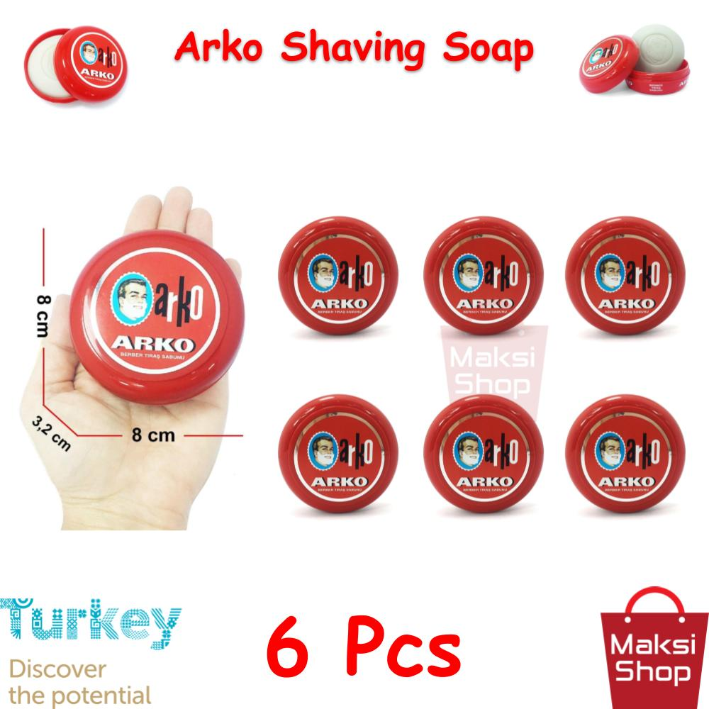 Arko Shaving Soap 90 g * 6 Pcs Bowl Razor Shaving Soap Abundant Foam Cleaning Easy Cleaning Easy Rinsing Face does Not irritate