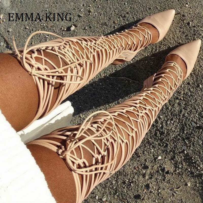 Women Thin High Heels Boots Fashion Cross-strappy Roman Gladiator Bandage Sandals Women Over the Knee High Heel Sandalias botas