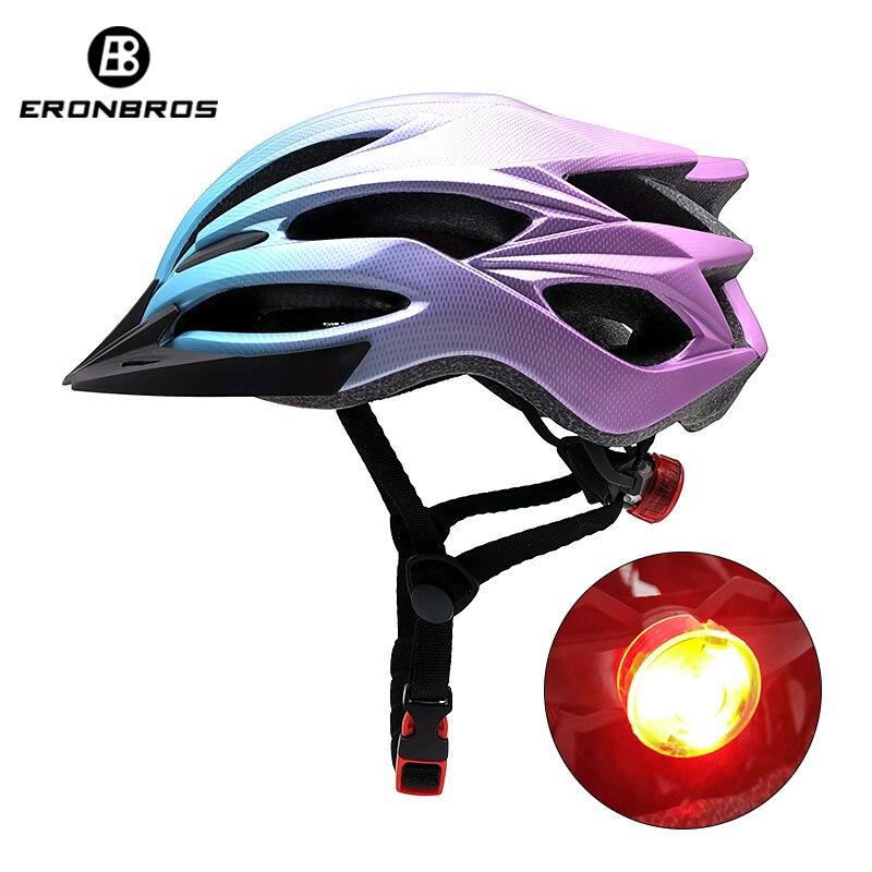 Casco de bicicleta de montaña con luz LED roja y visera de Sol para hombres y mujeres casco de ciclismo ligero Casco de Bicicleta de carretera para deportes al aire libre