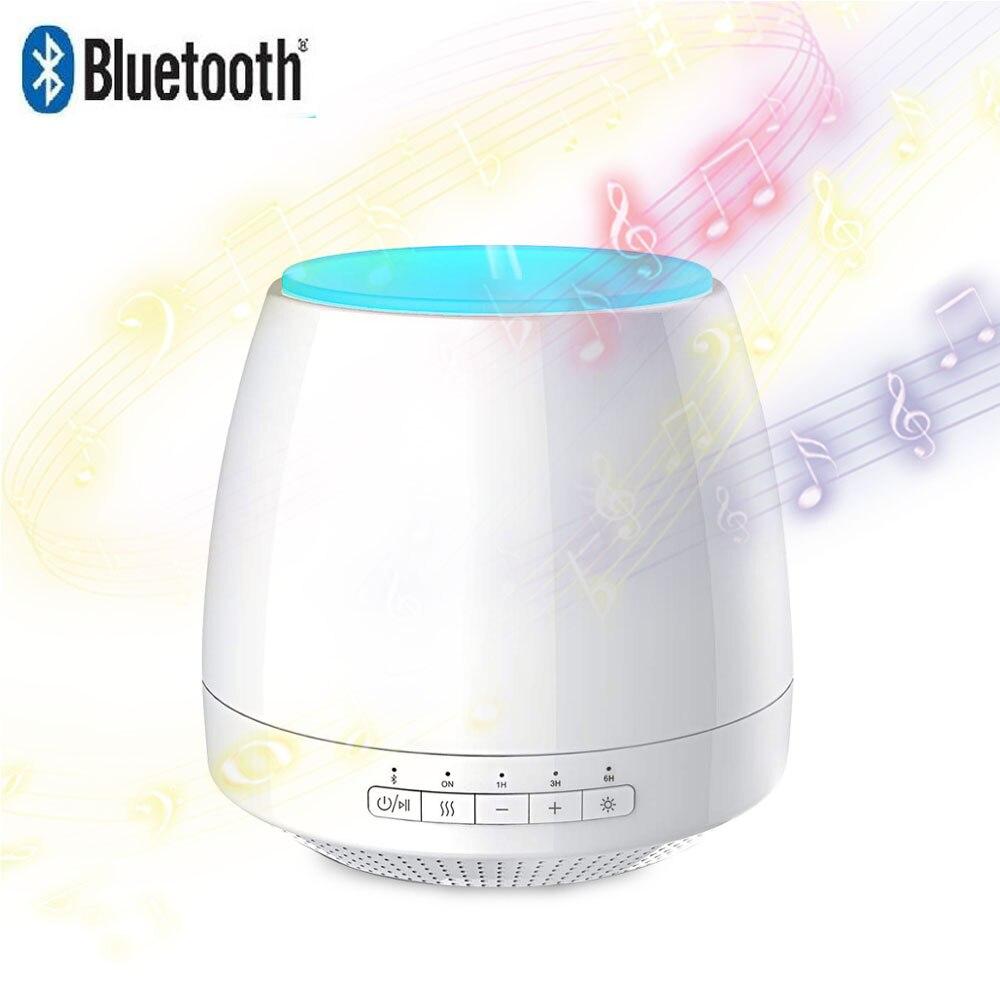 Difusor de aceites aromáticos Bluetooth, humidificador de aire ultrasónico de aromaterapia con colorida lámpara LED de noche para habitación, dormitorio, 200 ml