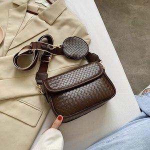 2020 Fashionable Crossbody Bag For Women Wide Strap PU Leather Purses and Handbags Female Vintage Black Shoulder Bag With Pocket