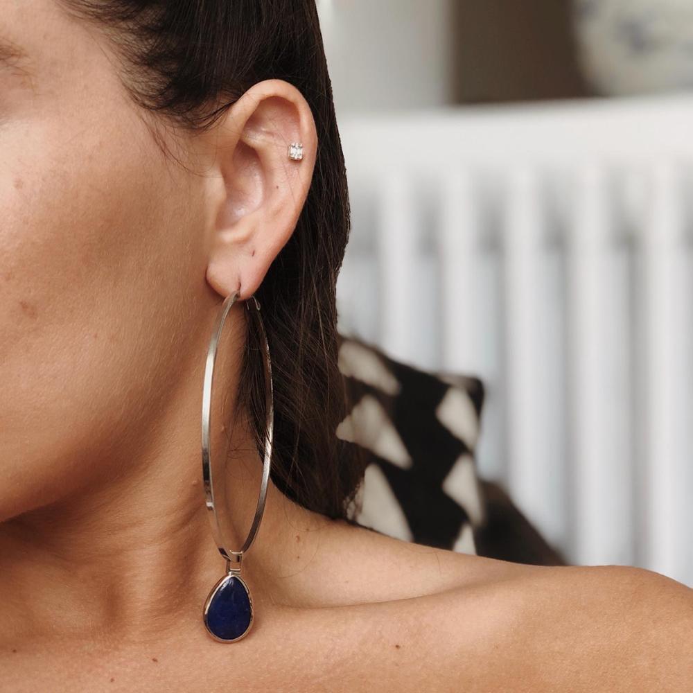 GULCE DERELI-أقراط من الحجر الطبيعي باللون الأزرق الداكن ، أقراط دائرية ، أقراط ساحرة ، صندوق هدايا ، مطلية بالذهب والفضة