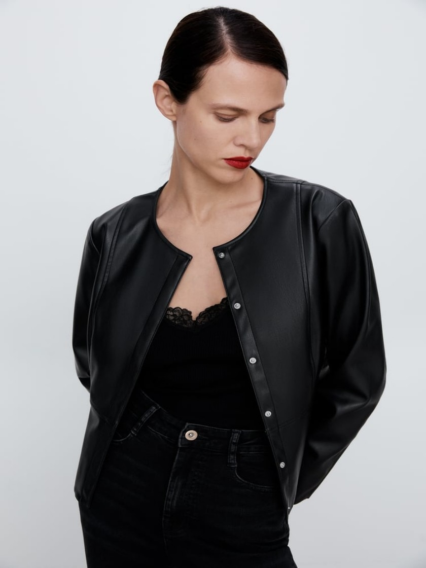 Women, ZARA, 2021 FAUX LEATHER JACKET LONG SLEEVE JACKET WITH A ROUND NECKLINE. CONCEALED SNAP BUTTON IN FRONT, Elegant, Stylish enlarge
