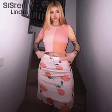 Sisterlinda 고품질 메쉬 미니 스커트 여성 더블 레이어 섹시한 짧은 스커트 패션 인쇄 기본 스커트 여성 Mujer 2020