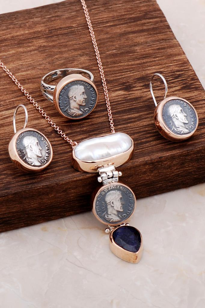 Rose Gold Set with Natural Stone Design Antique Coin 2046Hand Made Silver Jewellery Set