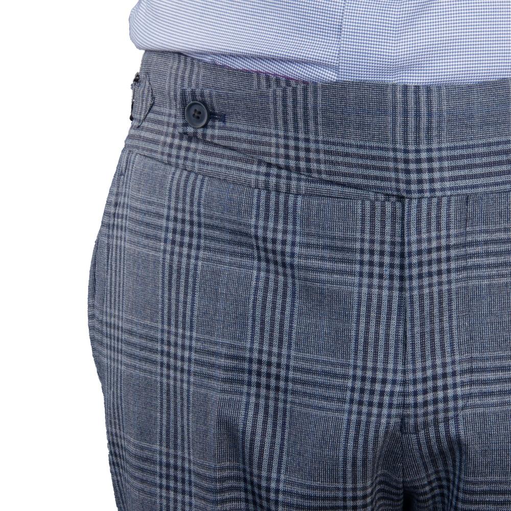 بنطلونات إيطالية مصممة حسب الطلب سراويل كبيرة ممتدة حزام تثبيت حزام سميك حزام ضبط جانبي أزرق رمادي منقوش خياط