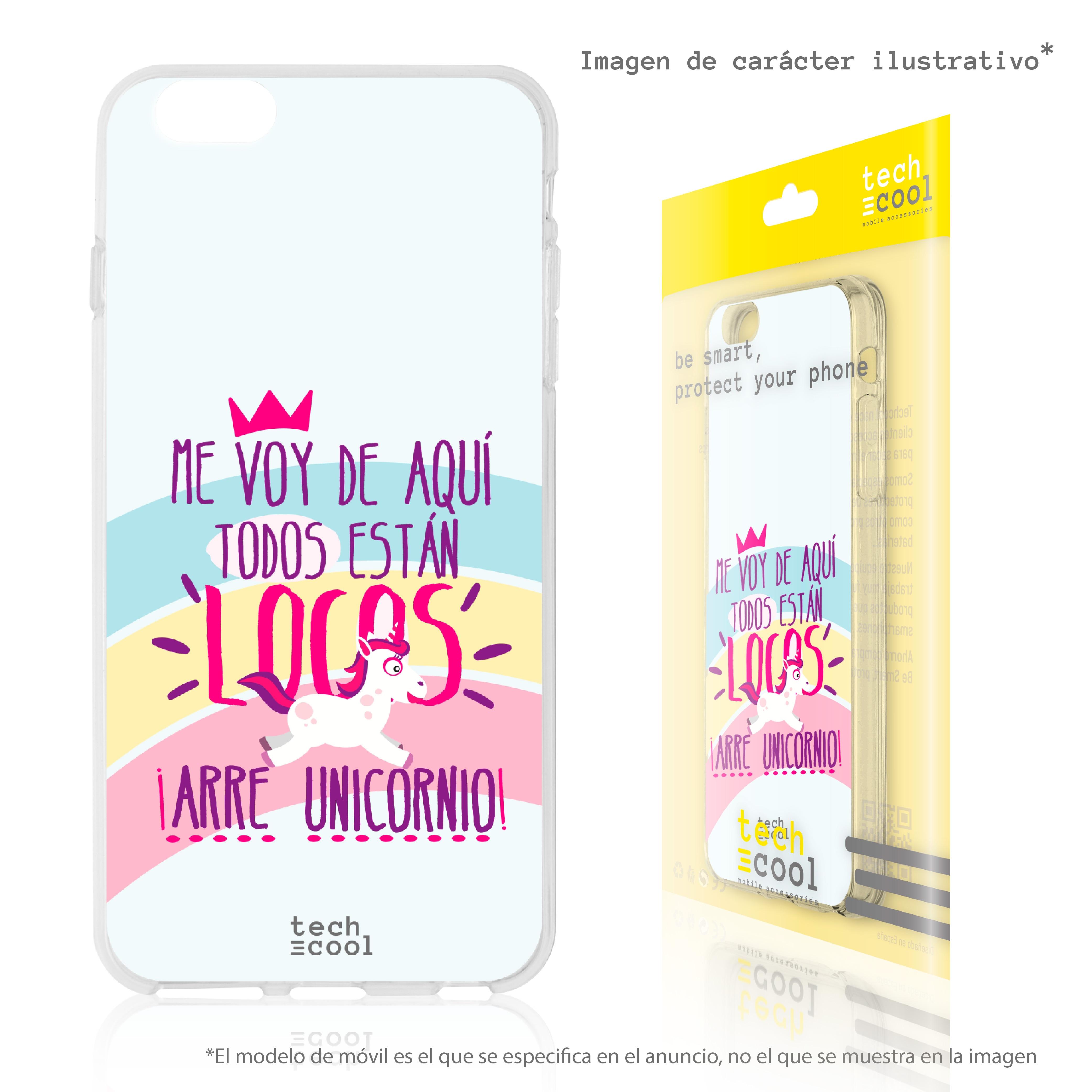 "FunnyTech® Funda Silicona para Huawei P30 Lite l Frase Unicornio ""Estan todos locos"" vers. Azul"