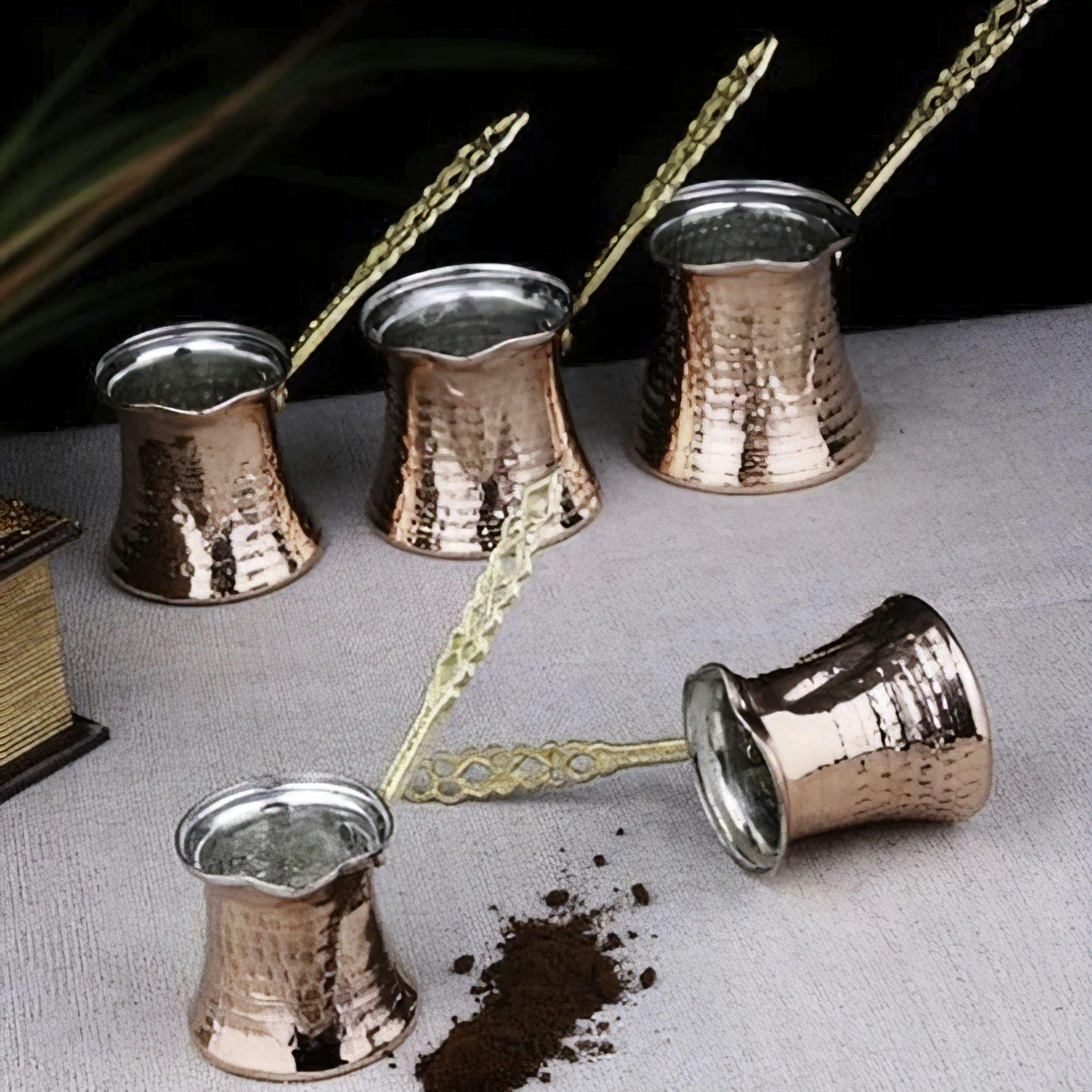 5'li Copper Coffee Pot Set Hand Hammered Copper turkish coffee pot for Pitcher Vintage недорого