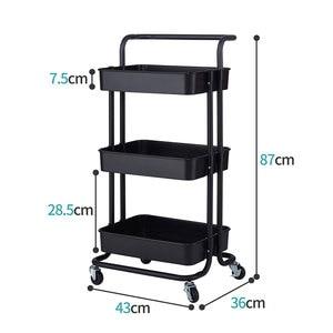 【US Warehouse】3-Tier Home Kitchen Storage Utility cart Metal&ABS -Black