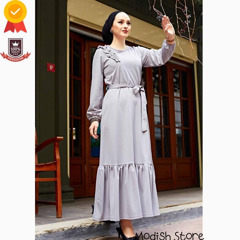 Shoulder Frilly Four Seasons Dress For Women 2021 Turkish Women's Clothing Abaya Dubai Turkey Muslim Hijab Dress Kaftan Arabic недорого