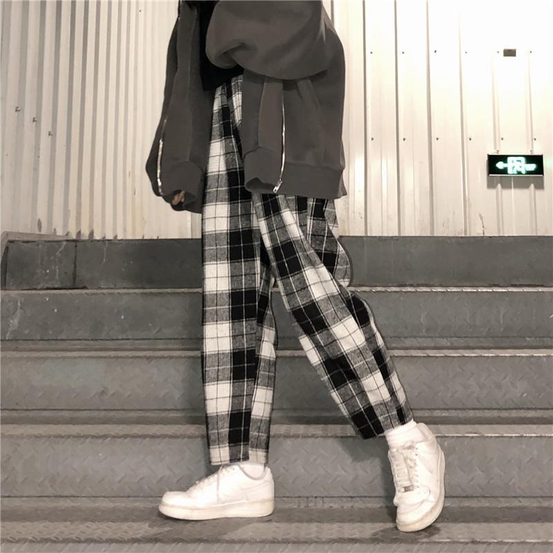 Женские клетчатые брюки в стиле Харадзюку, уличная одежда 2021, женские брюки-султанки, осенние женские повседневные брюки