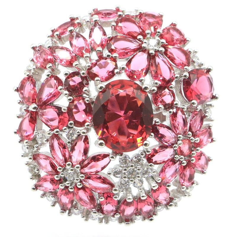 37x35mm Romantic Big Size 10.6g Created Pink Raspberry Rhodolite Garnet Gift For Ladies Silver Rings