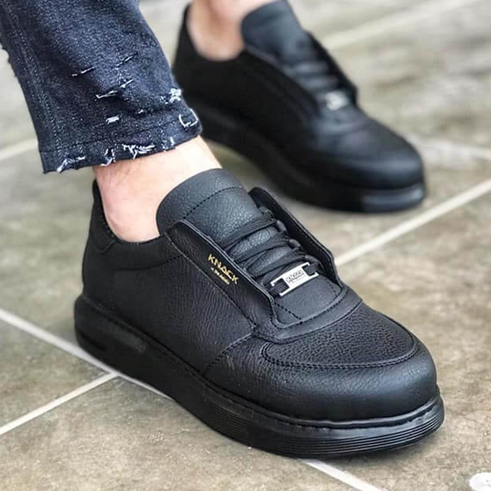Knack Men's Casual Shoes Black Color (Black Sole) Stylish Fashion Comfortable Stitched High Sole Lace-Up Faux Leather Summer Spring Season Classic Walking Wedding Sneakers Men Sneakers Luxury Brand Designer Shoes 039