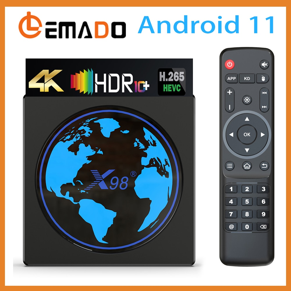 Lemado X98 Mini Smart Android TV Box Android 11 4K 60FPS HDR Support AV1 Dual Wifi Youtube Media Player 4GB 64GB Set Top Box