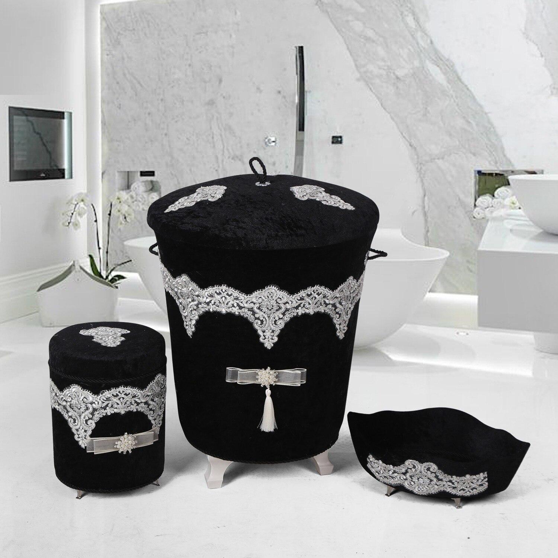 Bonny Home الفاخرة الأسود 3 قطع سلة الغسيل مجموعة حامل المناشف صندوق المنظفات المنظم القذرة صندوق تخزين ملابس