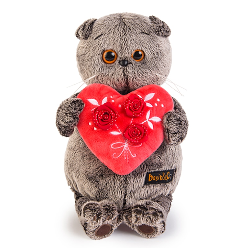 Soft toy Budi Basa Basik cat Basik буди bass with red heart, 25 cm
