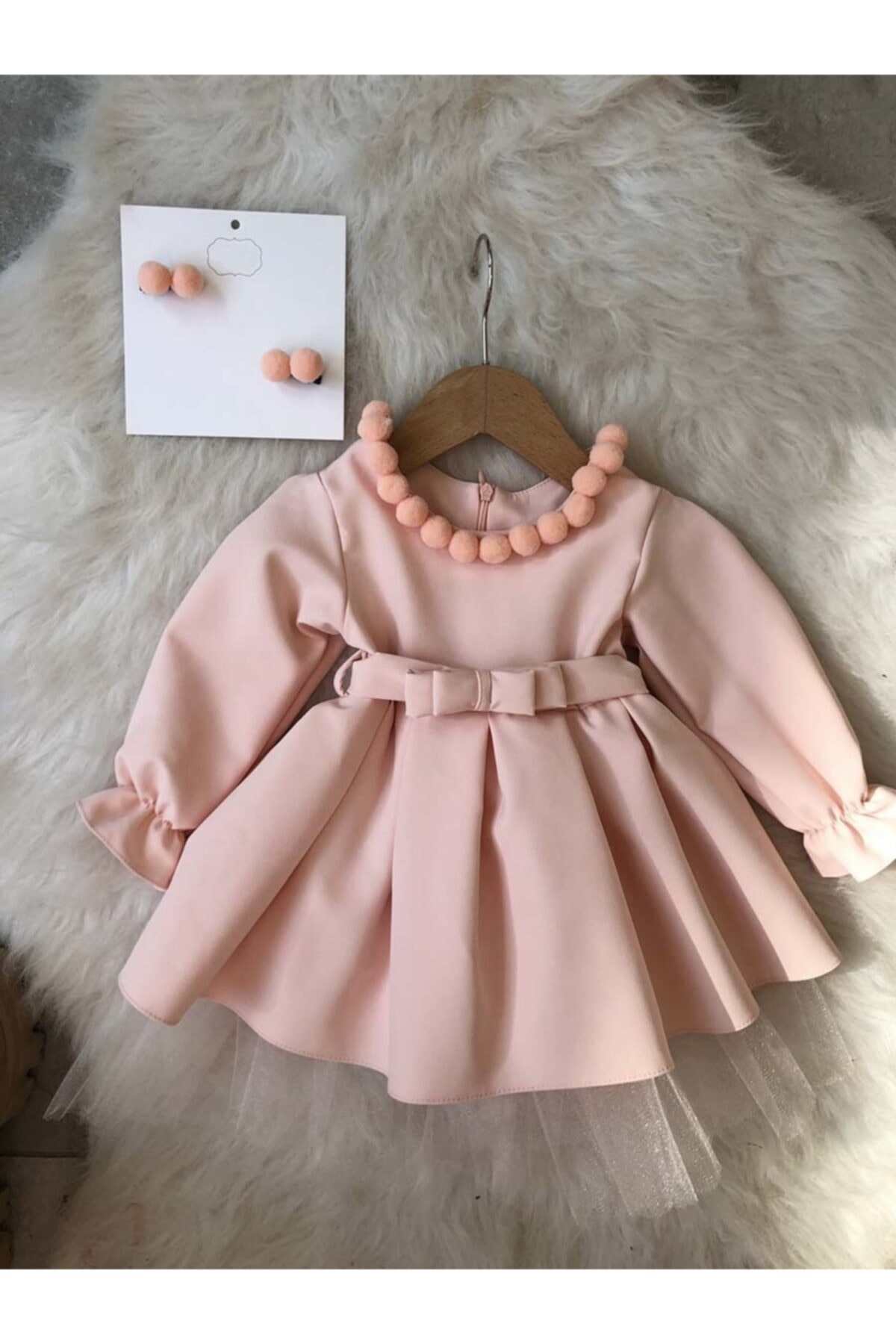 Flaneur Baby Girl Powder Long Sleeve Dress With Hair Clip For Special Occasions Pemium Quality