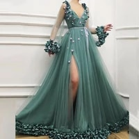 sexy v neck hunter with green hem sew tulle skirt prom dress with long sleeves flower 2021 formal evening dress