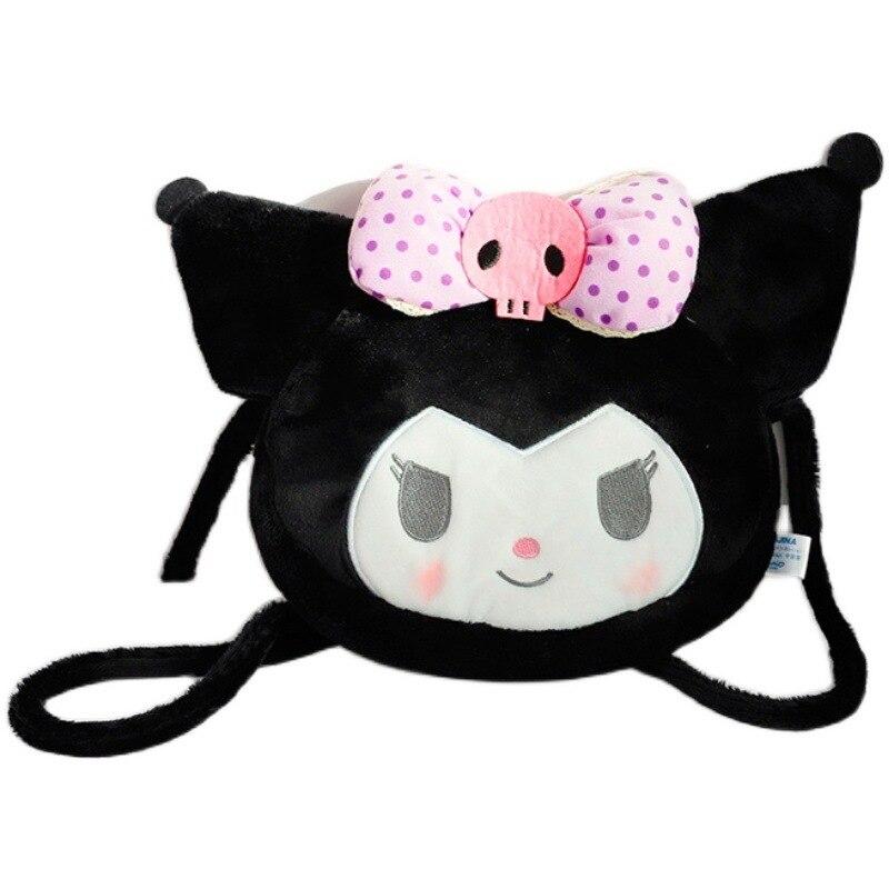 لطيف Kuromi حقيبة قطيفة لوليتا الأسود الكتف حقائب كروسبودي للفتيات في سن المراهقة المرأة حقيبة ساعي صغيرة الكرتون المرأة حقيبة 2021