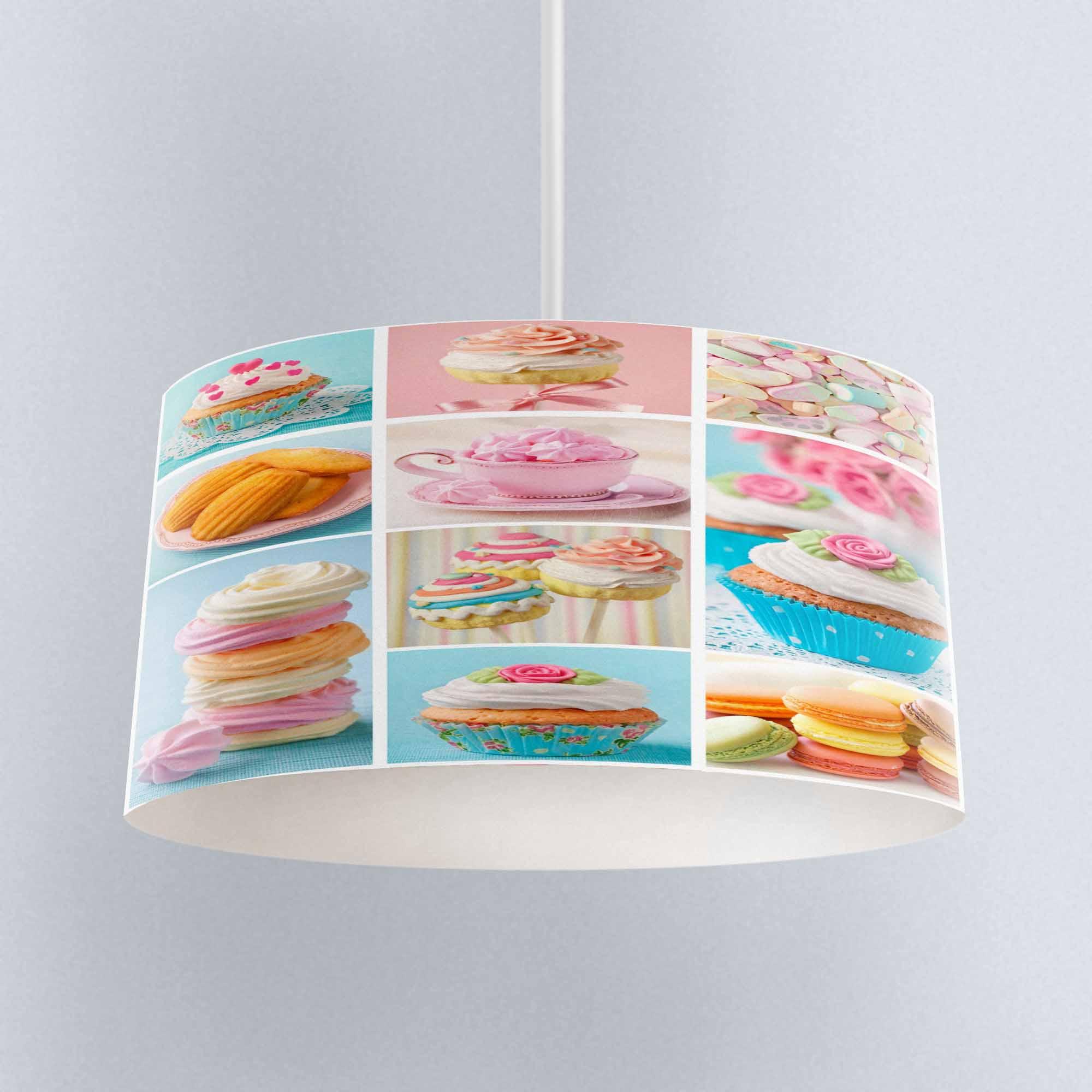 Else azul Rosa taza pasteles de tela de retales impreso lámpara de araña de cocina Pantalla de tambor piso techo colgante sombra de luz