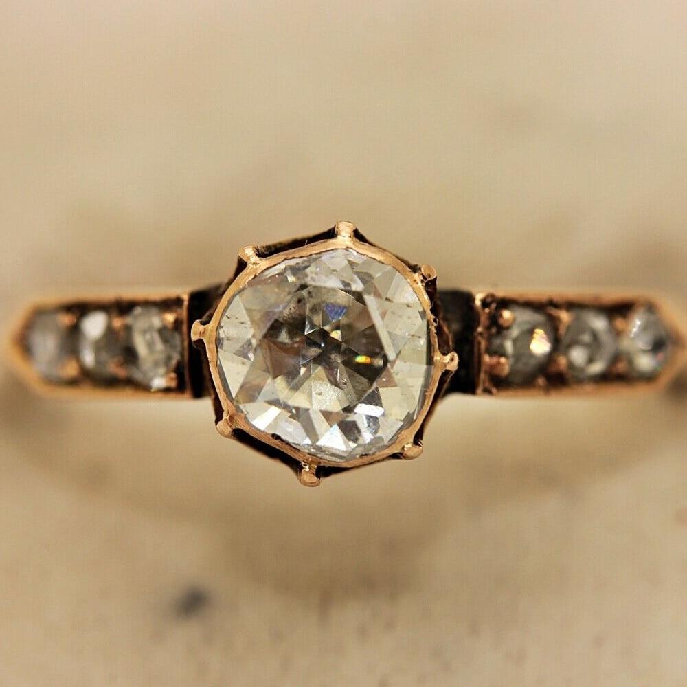 Anillo ORIGINAL de oro de 14K de estilo otomano islámico de diamante con corte de Rosa antiguo