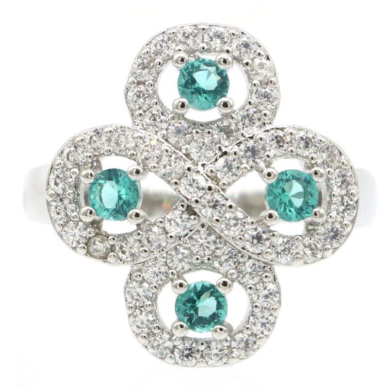 20x18mm Anniversary Created Blue Aquamarine White CZ For Ladies Dating Silver Rings Wholesale